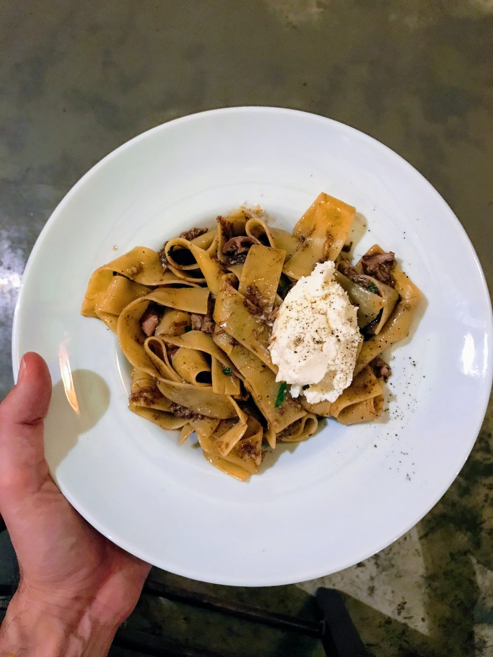 Their signature dish, Papardelle with lard