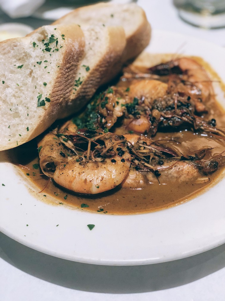 The shrimp signature dish at Mr B's Bistro