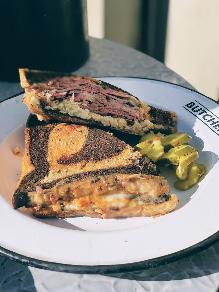 Ridiculously tasting pastrami melt at Cochon Butcher