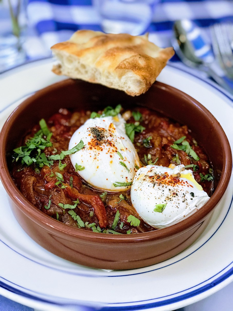 Spicy shakshuka eggs at Claudette