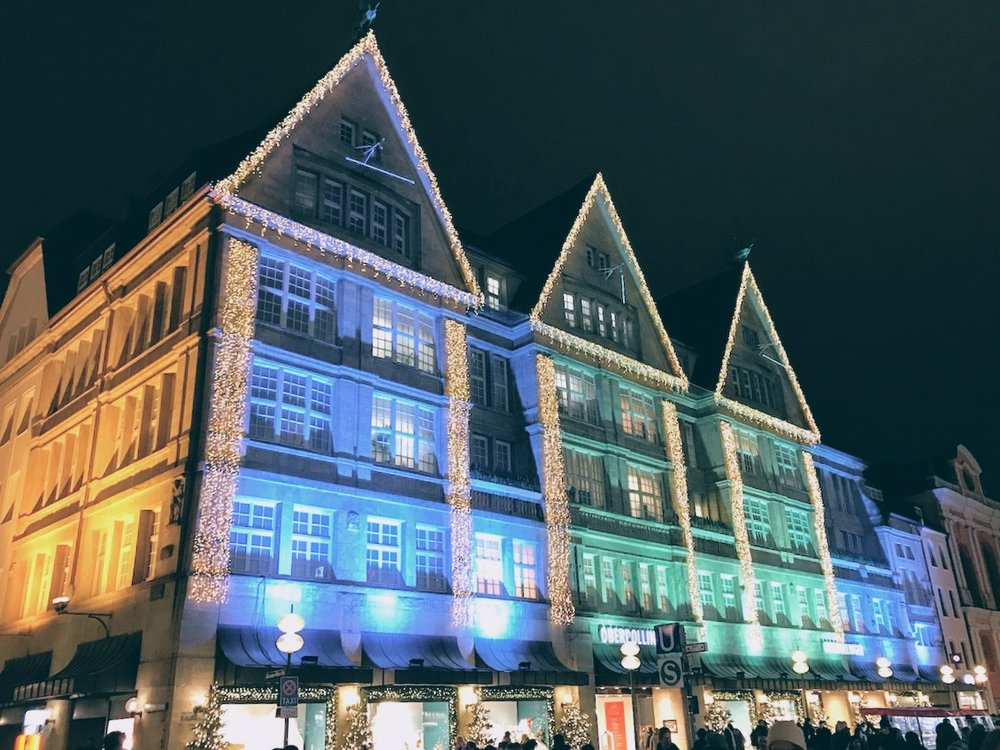 A German department store in Munich, lit up for the holidays