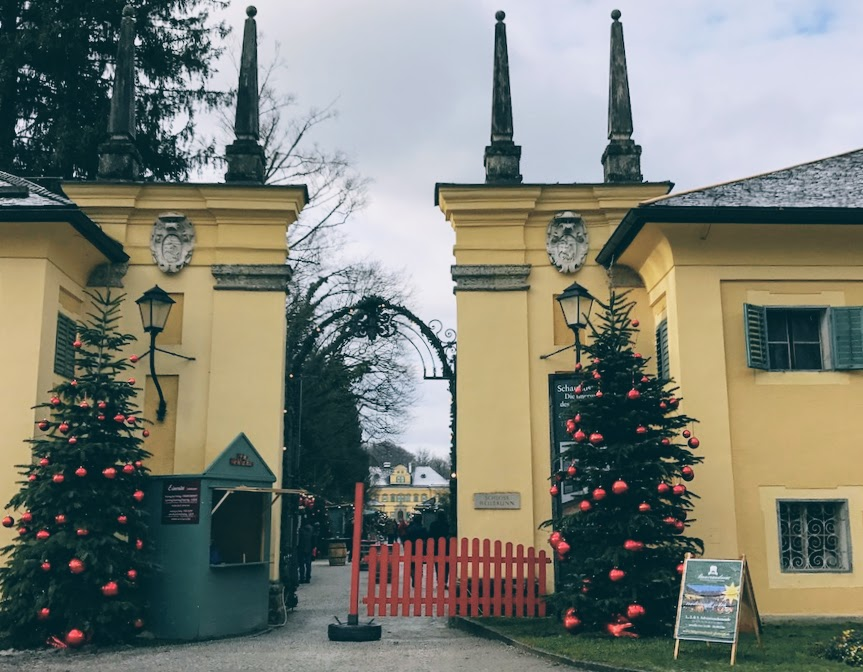 The Christmas market entrance at Hellbrunn Palace, Salzburg, Austria.