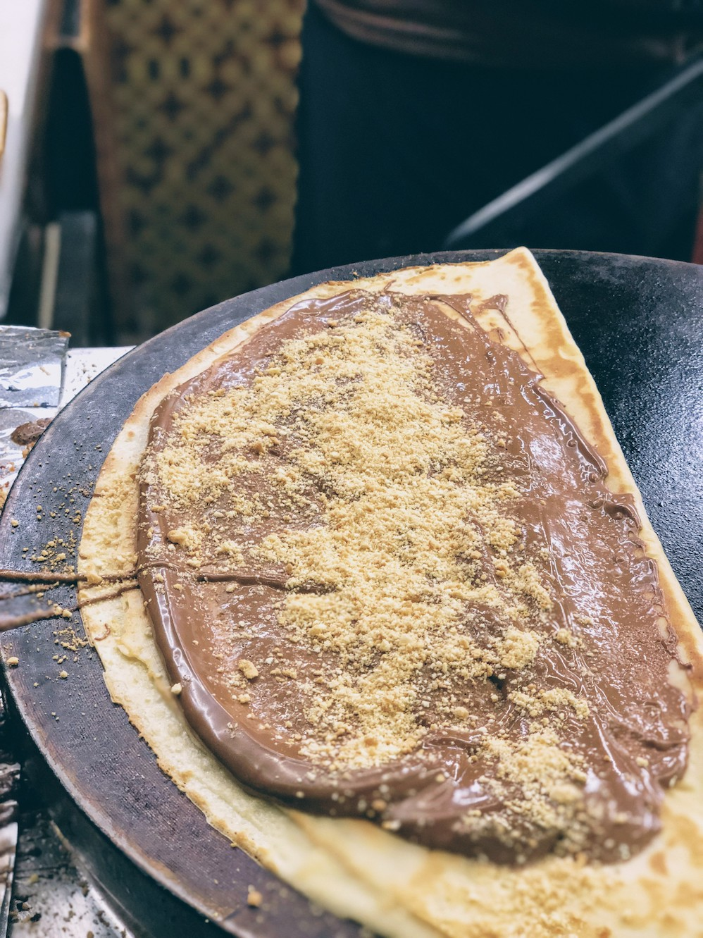 Nutella crepes with sprinkled biscuit crumbs at Krepilateion