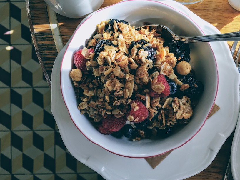 Homemade granola with berries and pecan nuts
