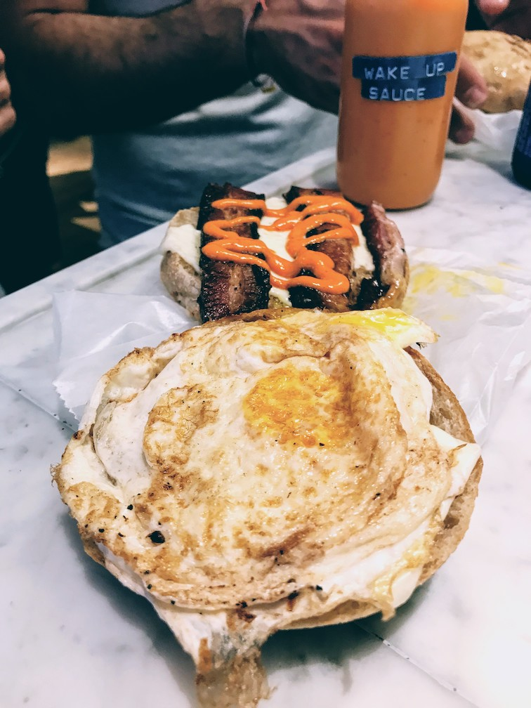 Breakfast sandwich with the Daily Provisions Wake Up Sauce