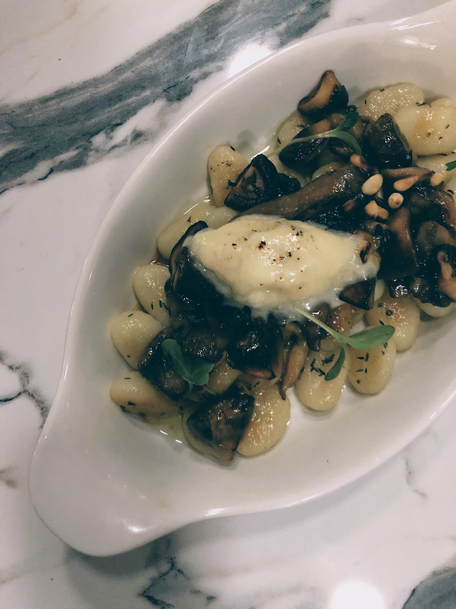 Potato gnochii with grilled mushrooms and dolce gorgonzola