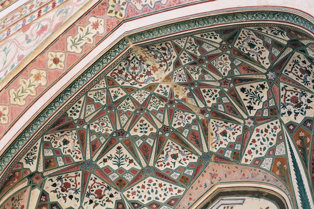 Details of an alcove in Amer Fort.