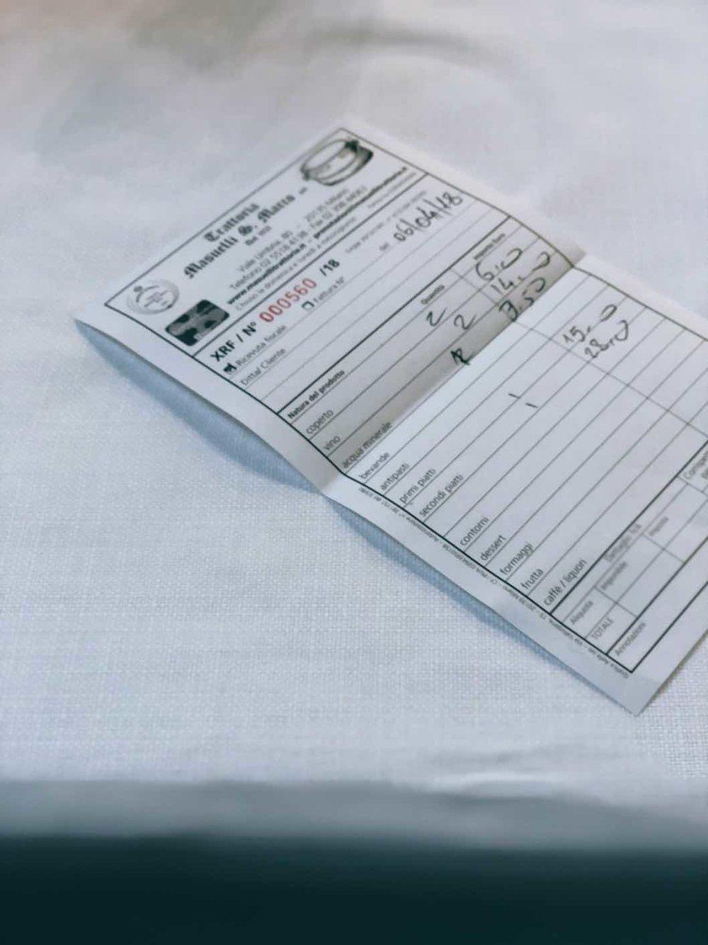Il conto, on paper