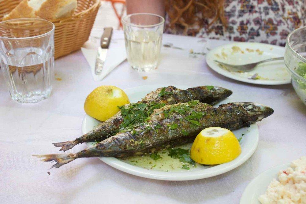 Grilled smoked mackerel