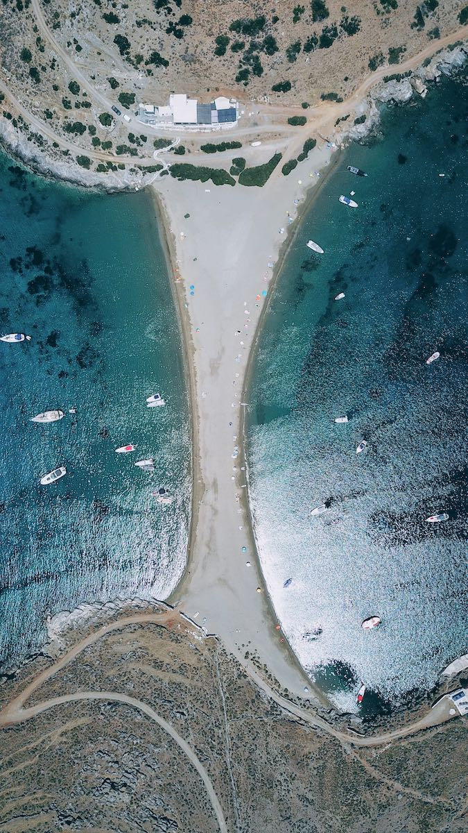 Aerial view of the famous Kolona beach