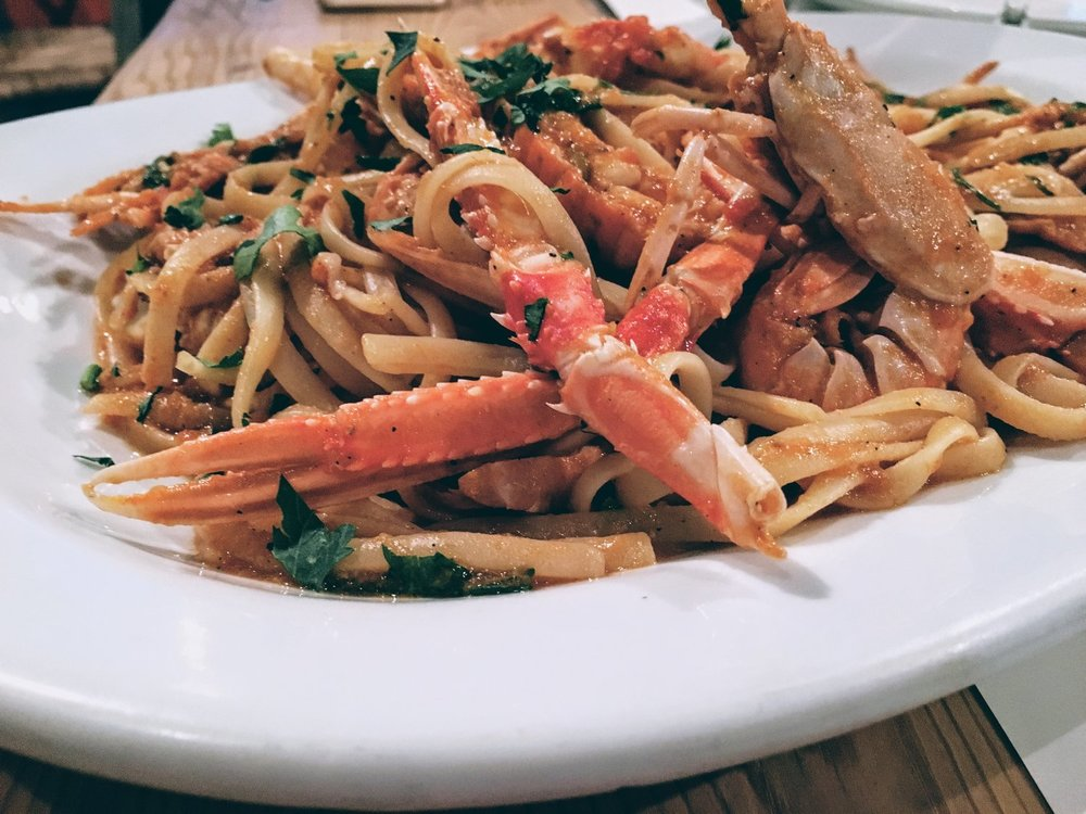 Crayfish pasta in tomato sauce