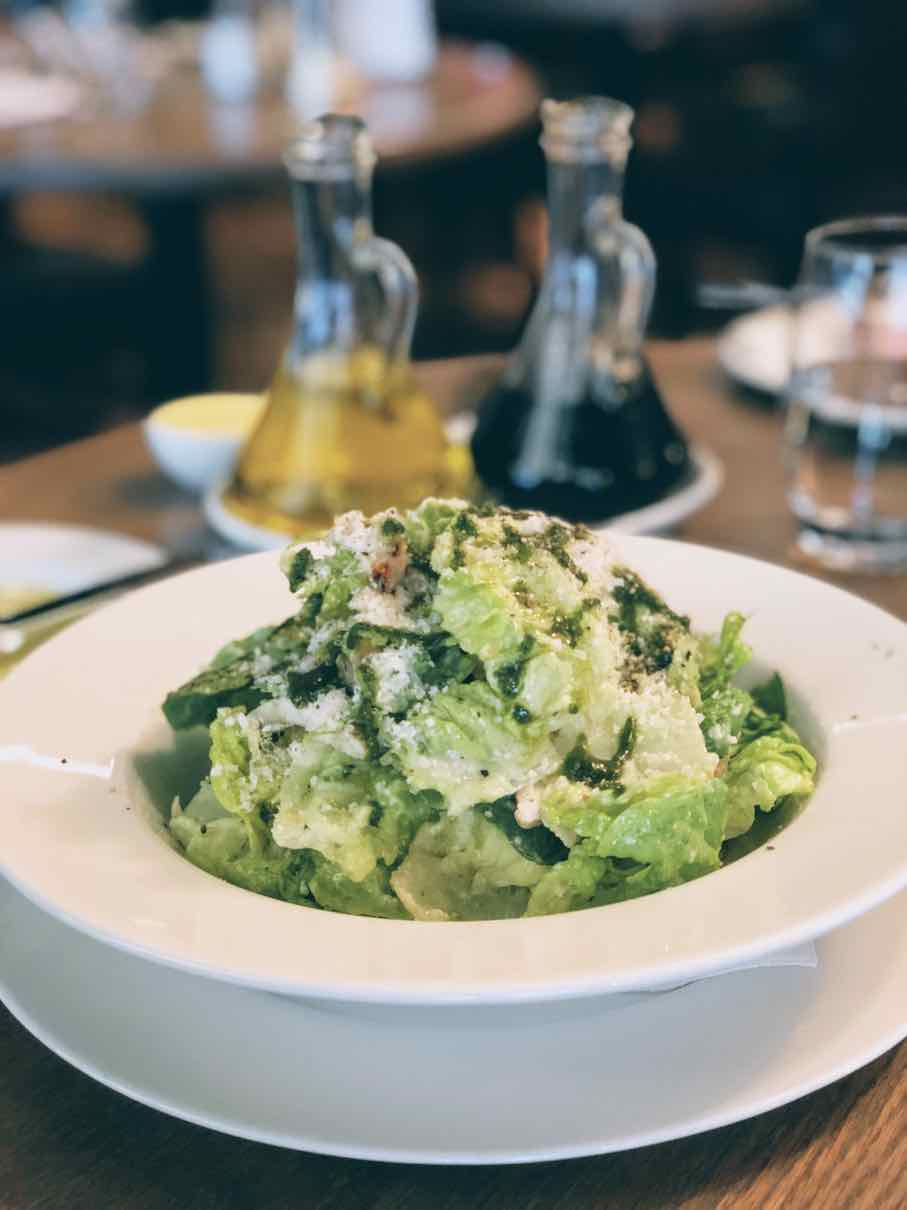 Marco Pierre White's take of Ceasar's salad with pesto drizzle