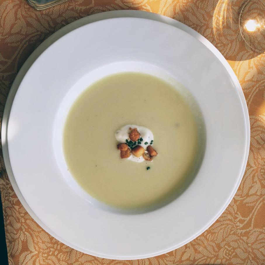 White corn soup with crispy miyagi oysters and tarragon crème fraiche