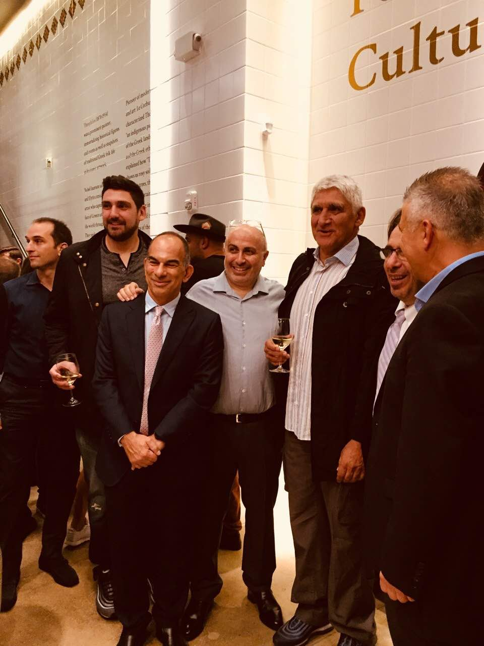George Korres with Greek veteran basketball player Panayiotis Yiannakis at the opening