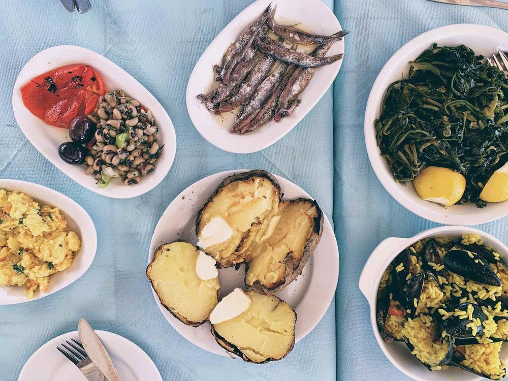 Seaside meze dishes at Jimmys in Agria, Volos