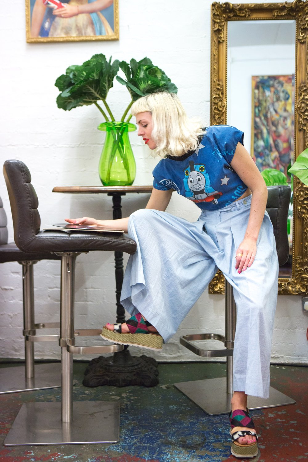 Nicola is wearing: vintage blue train print top, Polosophia Seiryu sky blue organic cotton trousers