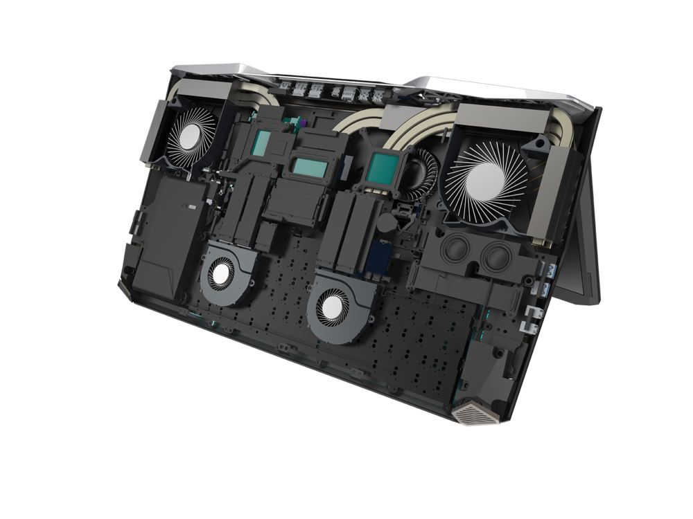 Source: Acer |  An internal look at the cooling system needed to keep this beat of a laptop cool.