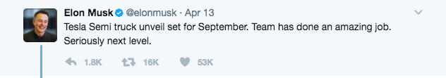 Elon Musk confirms, on Twitter, plans to unveil a Tesla Semi-Truck in September 2017.
