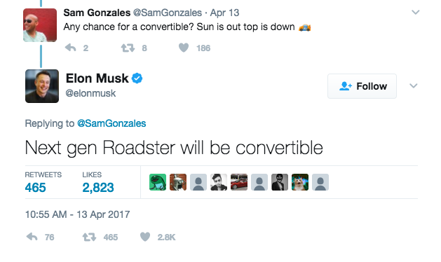 On Twitter, Tesla CEO Elon Musk confirms plans for a next-generation convertible Roadster.