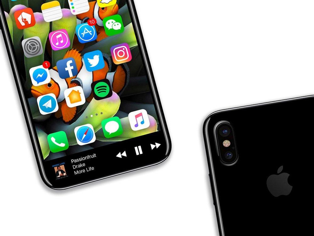| Source: Benjamin Geskin (@VenyaGeskin1) | Mock-Up of a bezel-less iPhone 8.