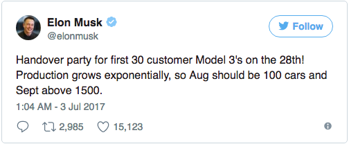"| Source: @elonmusk on Twitter | Musk announcing the planned ""handover party"" and plans production numbers for August and September. 