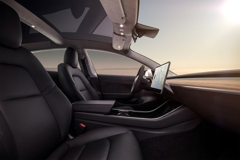 | Source: Tesla | A closer look at the Model 3's interior.