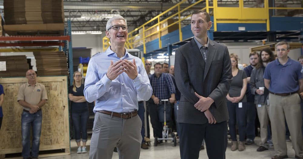 | Source: Tim Cook's Twitter (@tim_cook) | Tim Cook standing in the manufacturing plant in Cincinnati.