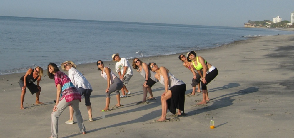 Brenda leading the Qigong retreat at Istmo Panama