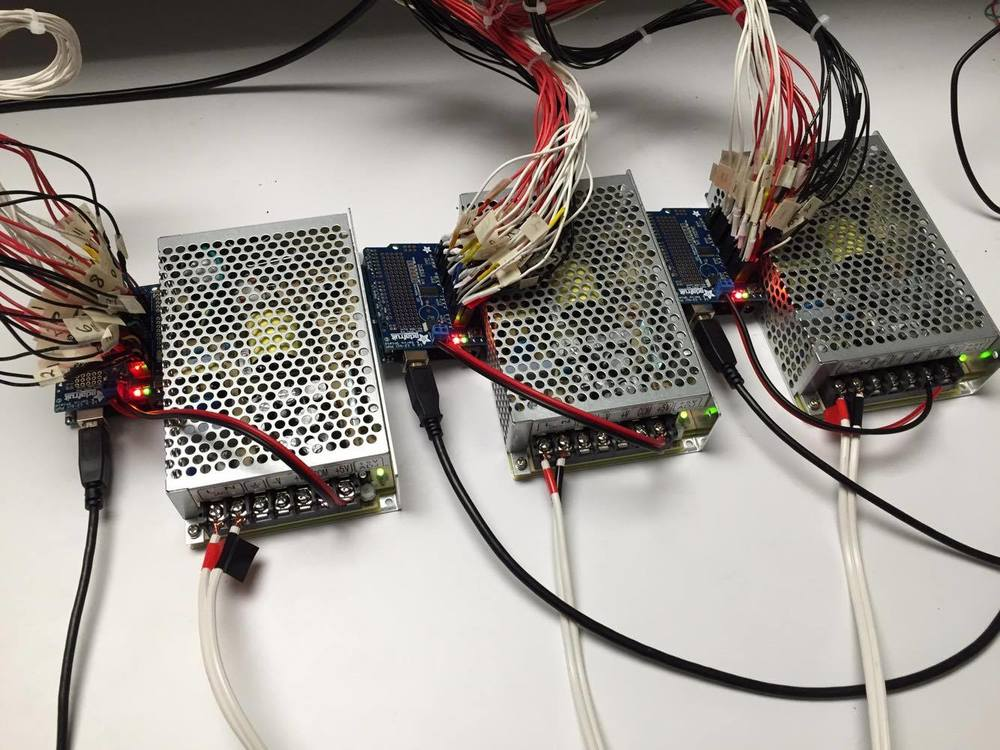 333:  3 power supplies: 5V @ 5 Amps, powering the 3 Arduino Uno Processing Boards with 3 Adafruit 16-Channel 12-bit PWM/Servo Shield - I2C interface