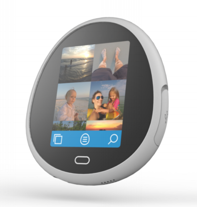 The Egg personal cloud storage device.  Front view showing touchscreen, home button, standard USB port.