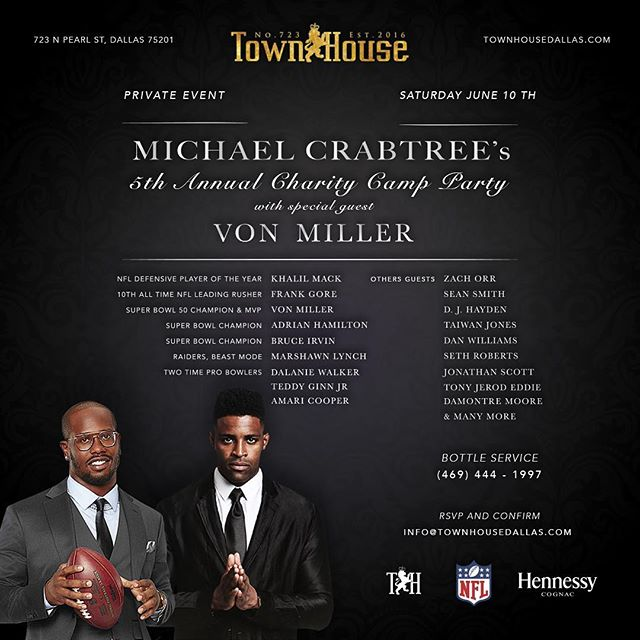 Excited for tomorrow's private event! Congrats on your 5th year @kingcrab15! Thank you @vonmiller 🏈