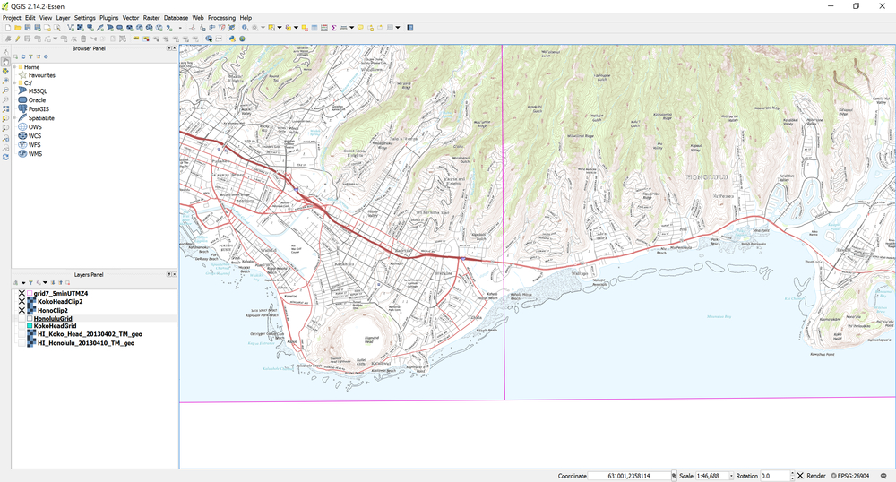 Example of Honolulu and Koko Head topo quad geotiffs with the corresponding USGS 7.5 minute grid cells as displayed in QGIS.