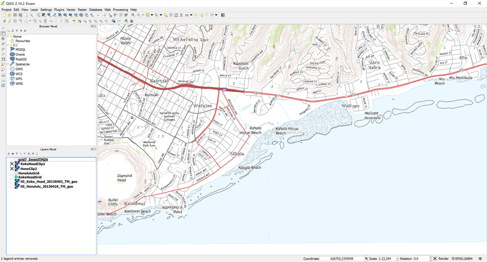 Example of Honolulu and Koko Head topo quad geotiffs without the USGS 7.5 minute grid cells as displayed in QGIS. Notice it is almost seamless -- you could get a seamless image by creating a mosaic and blending the edges.