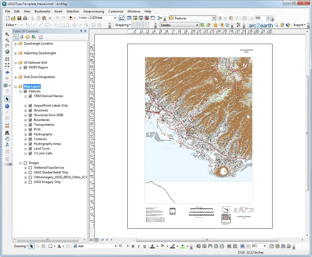 Figure 1: TNM mxd displayed in ArcGIS layout view. Notice the similarity to a printed USGS topo map.