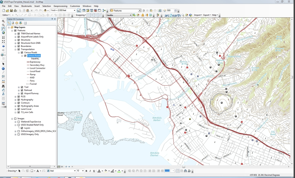 Figure 2: TNM mxd as displayed in ArcGIS data view. This is similar to a printed topo map.