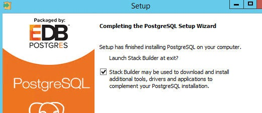 After completion it will ask if you want to launch Stack Builder – check the box and click Finish. This will lauch Stack Builder