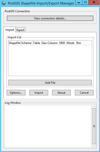 The shp2pgsql loader gui