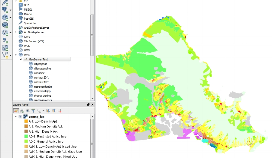 My GeoServer added in QGIS with zoning layer displayed