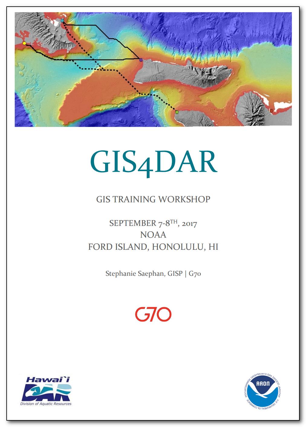 GIS4DAR ArcGIS Training Workshop - September 7-8, 2017