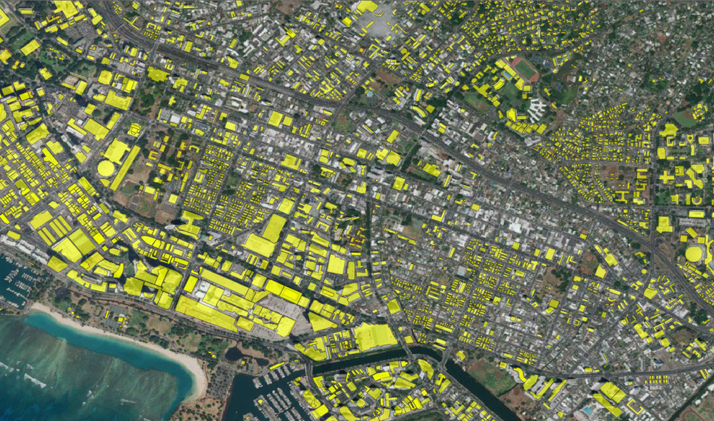 OSM building footprints (yellow polygons) overlaid on Bing Aerial