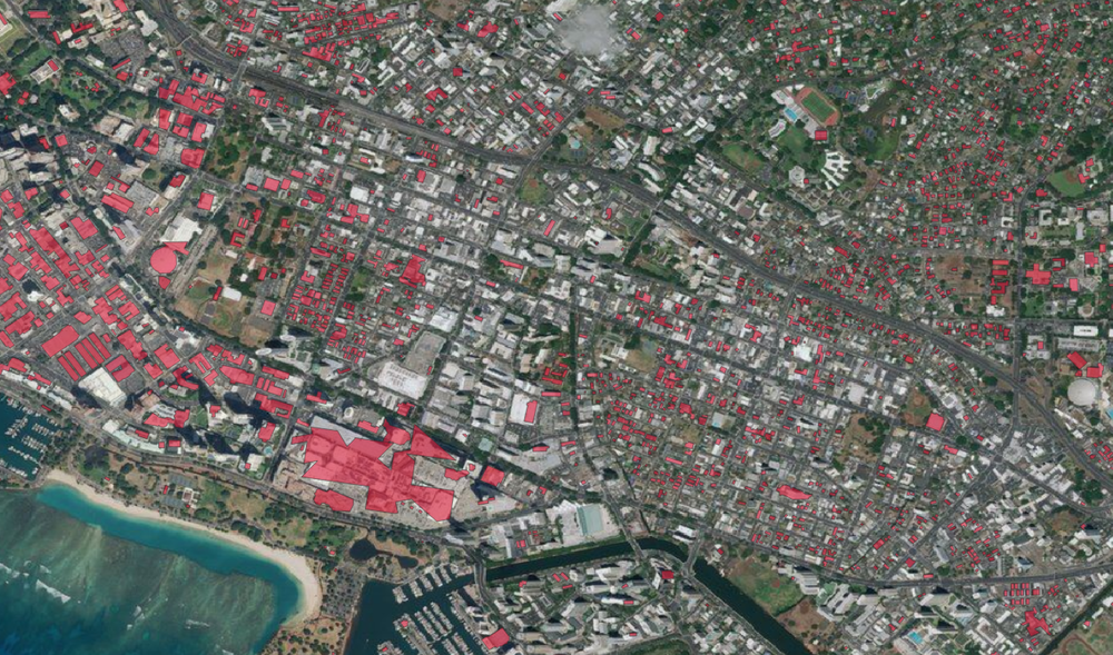 Microsoft/Bing building footprints (red polygons) overlaid on Bing Aerial