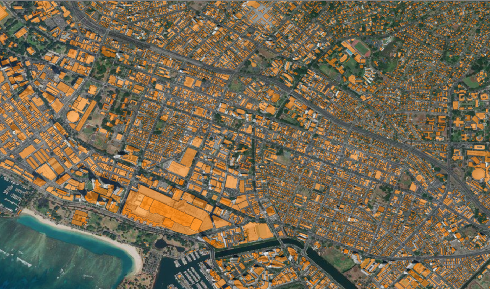 City and County of Honolulu building footprints (orange polygons) overlaid on Bing Aerial