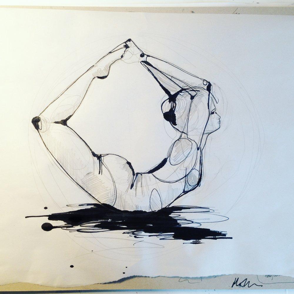 pencil and ink yoga - Holly Sharpe.JPG