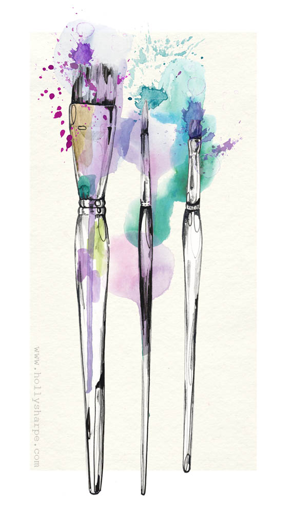 Paint brushes illustration by Holly Sharpe