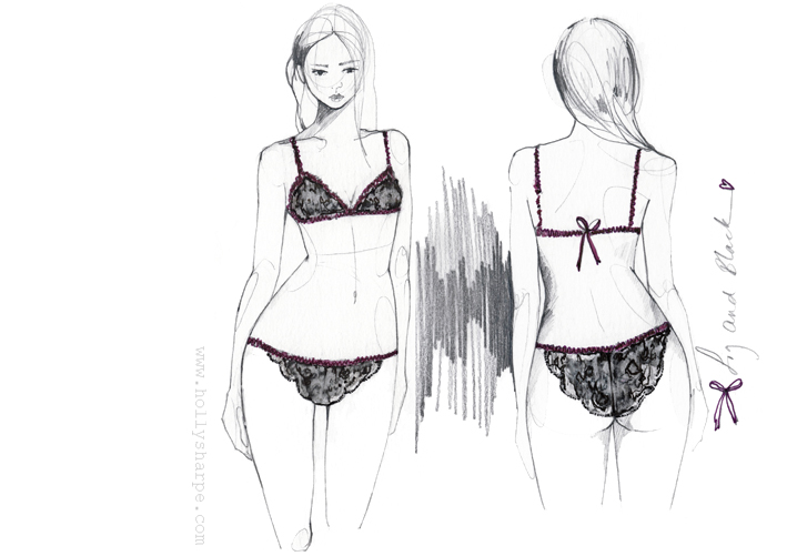 Lingerie fashion illustration by Holly Sharpe