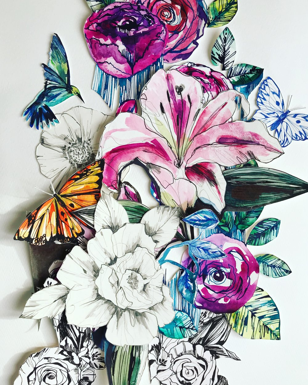 Lily Garden collage by Holly Sharpe