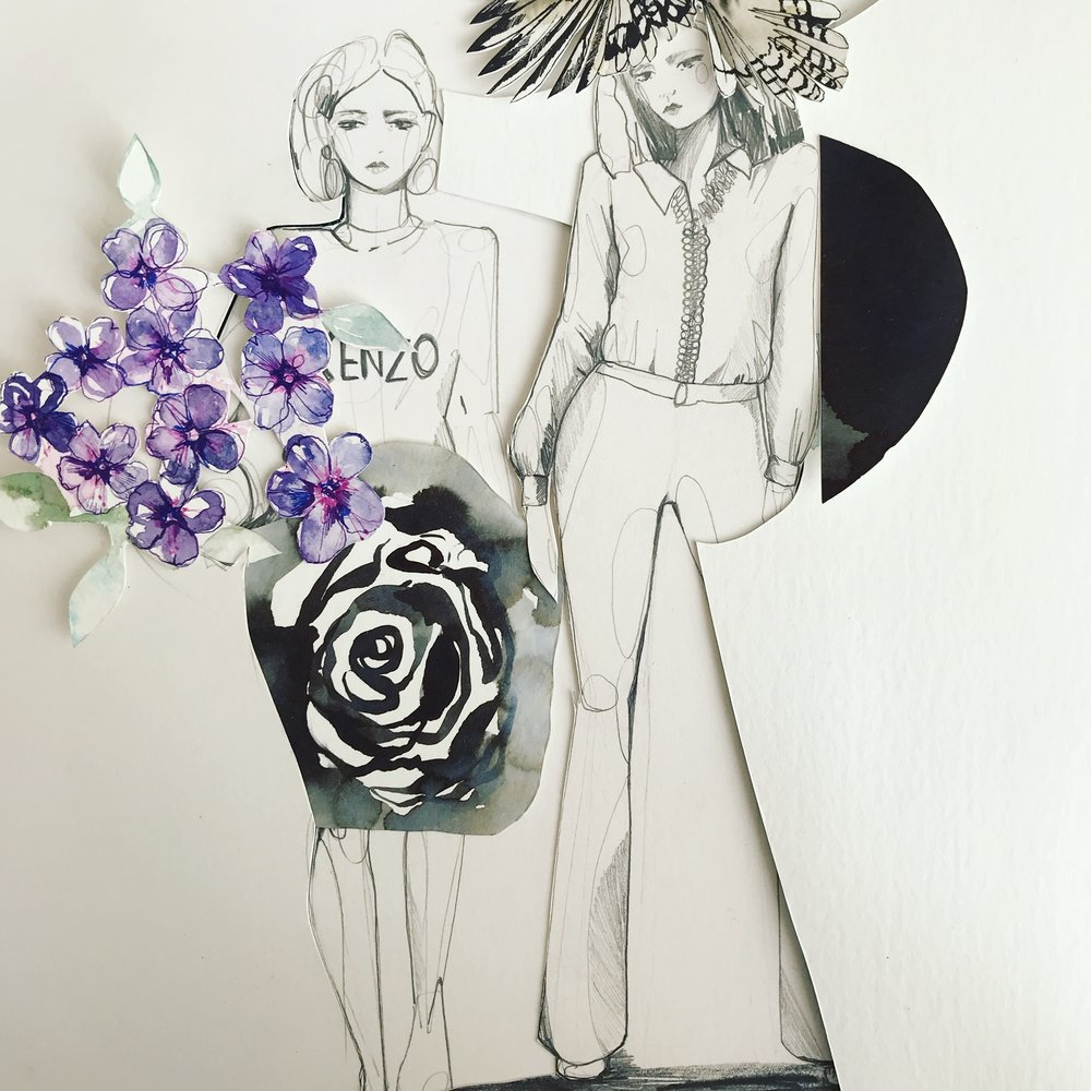 Fashion and drawing collage by Holly Sharpe