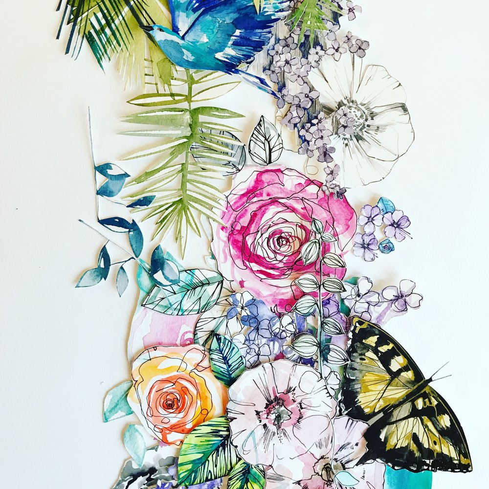 Falling garden collage by Holly Sharpe
