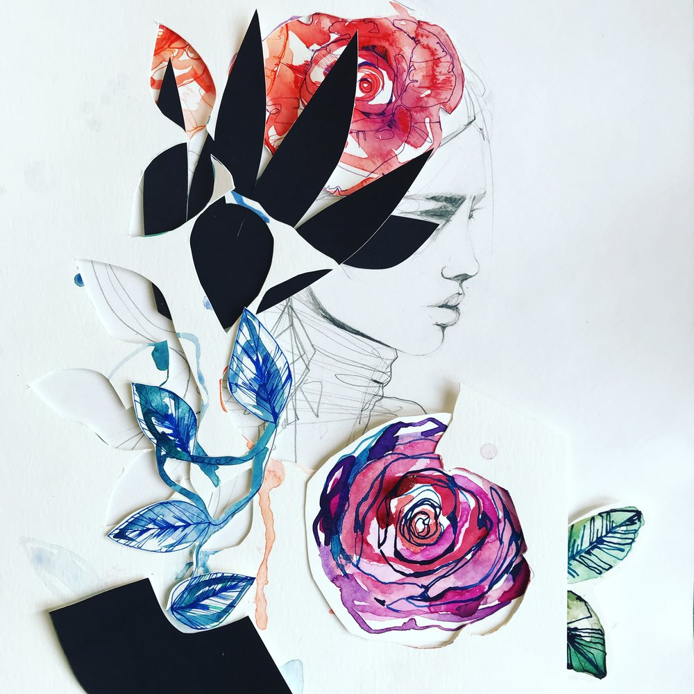 Fashion + watercolour and ink collage by Holly Sharpe
