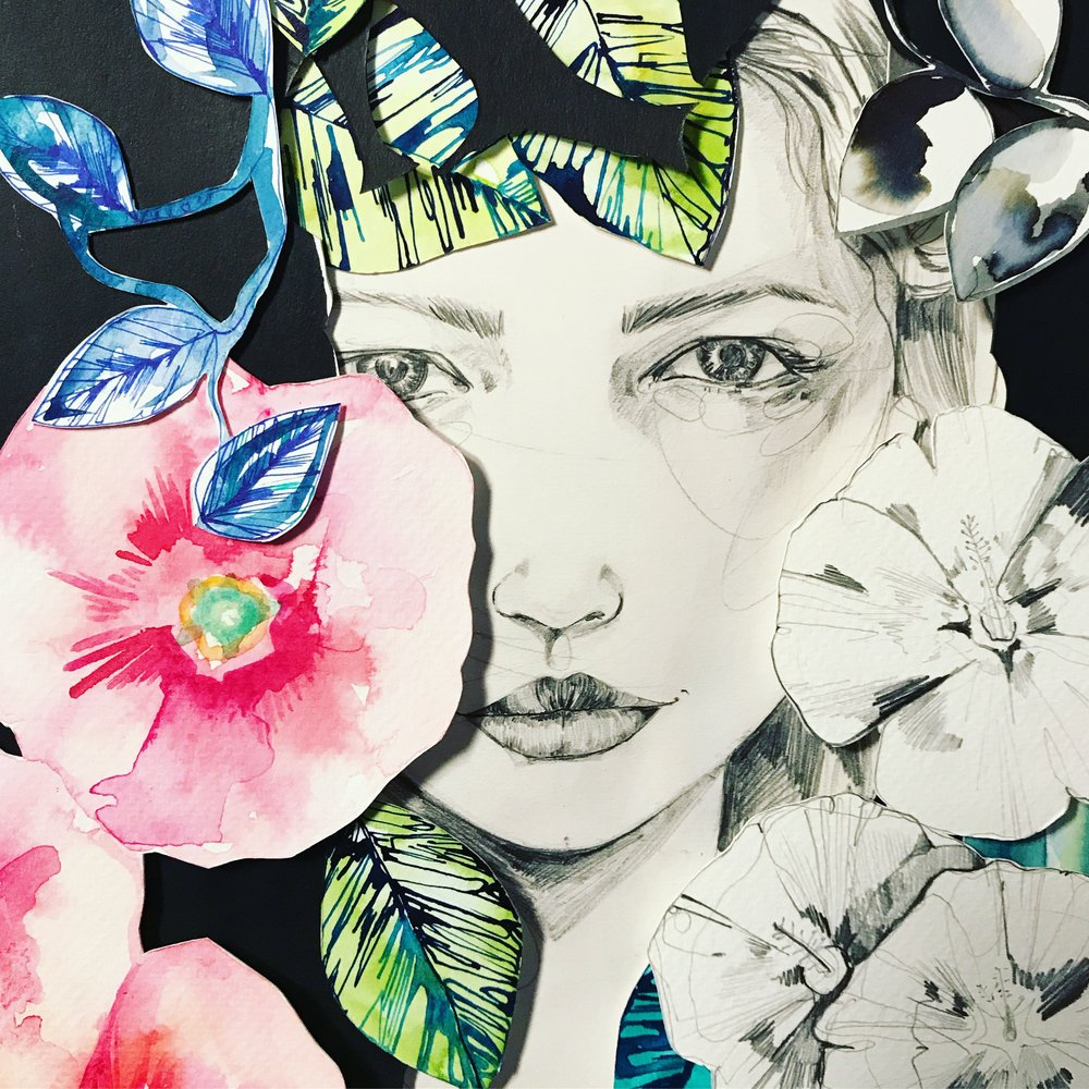 Amongst the flowers collage by Holly Sharpe